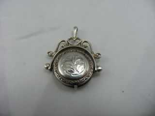 Antique Victorian Solid Silver Spinner Secret Mourning Locket Pendant Watch Fob photo