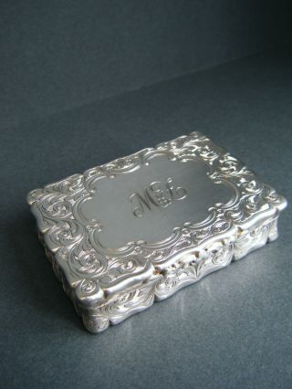 Weighty Victorian Antique Solid Silver Sterling 925 Table Snuff Box,  B'ham 1860 photo
