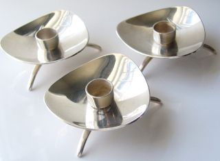 Set Of Three Carl Cohr C1960 ' S Modernist Silver Plate Candle Holders Denmark photo