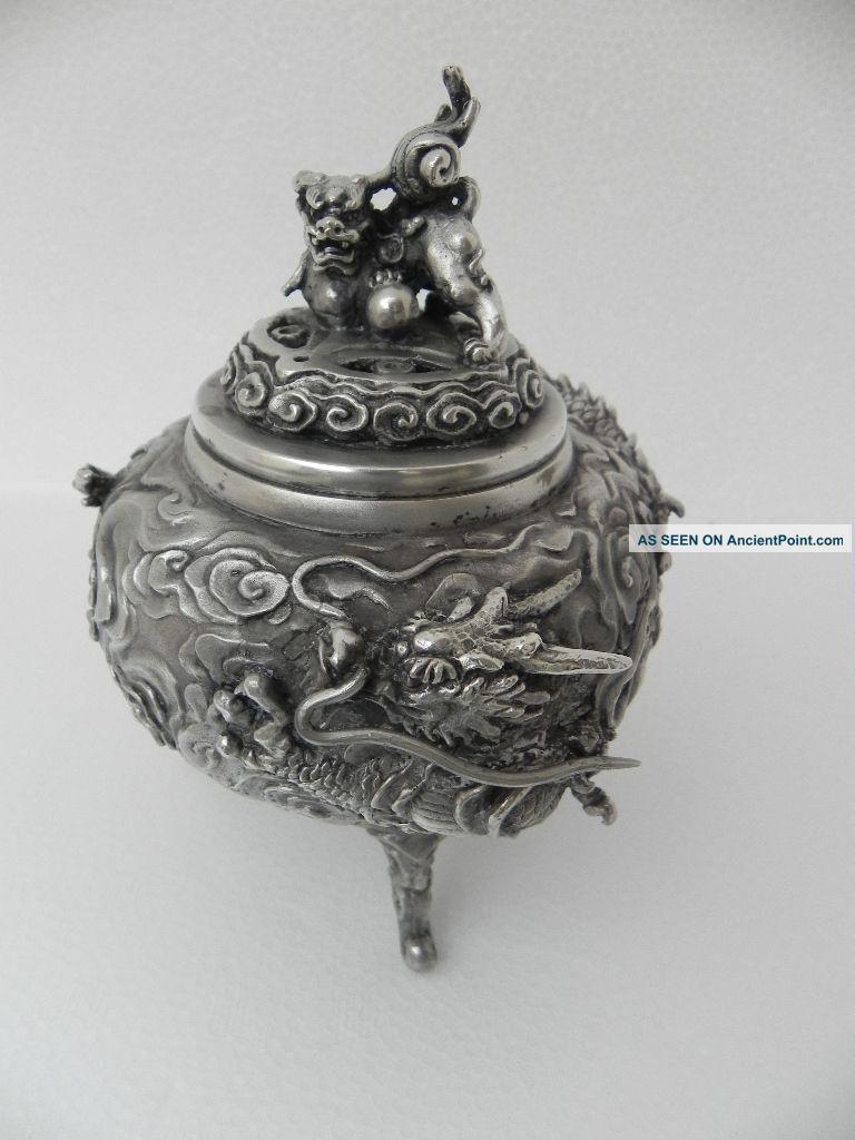 Spectacular Signed Japanese Solid Silver Dragon Shishi Koro Censor Bowl 33.  9 Oz Asia photo