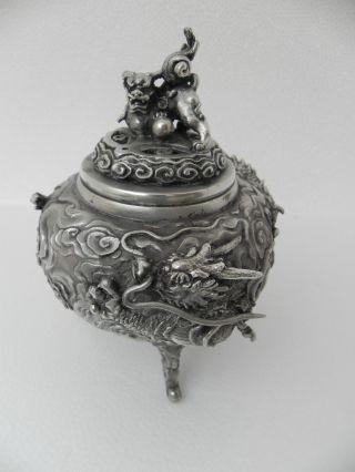 Spectacular Signed Japanese Solid Silver Dragon Shishi Koro Censor Bowl 33.  9 Oz photo