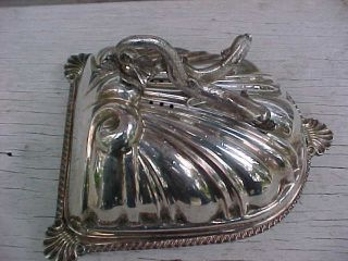 Silver On Copper Dome Covered Warming Serving Platter Tray 2 Dolphins Handle photo