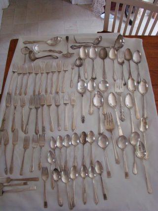 Vtg Silverplate Flatware Lot - Over 10 Lbs/serving Pcs & More - Vguc photo