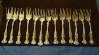 Set Of 12 1847 Rogers Grape Pattern Silver Plate Dessert Salad Forks photo