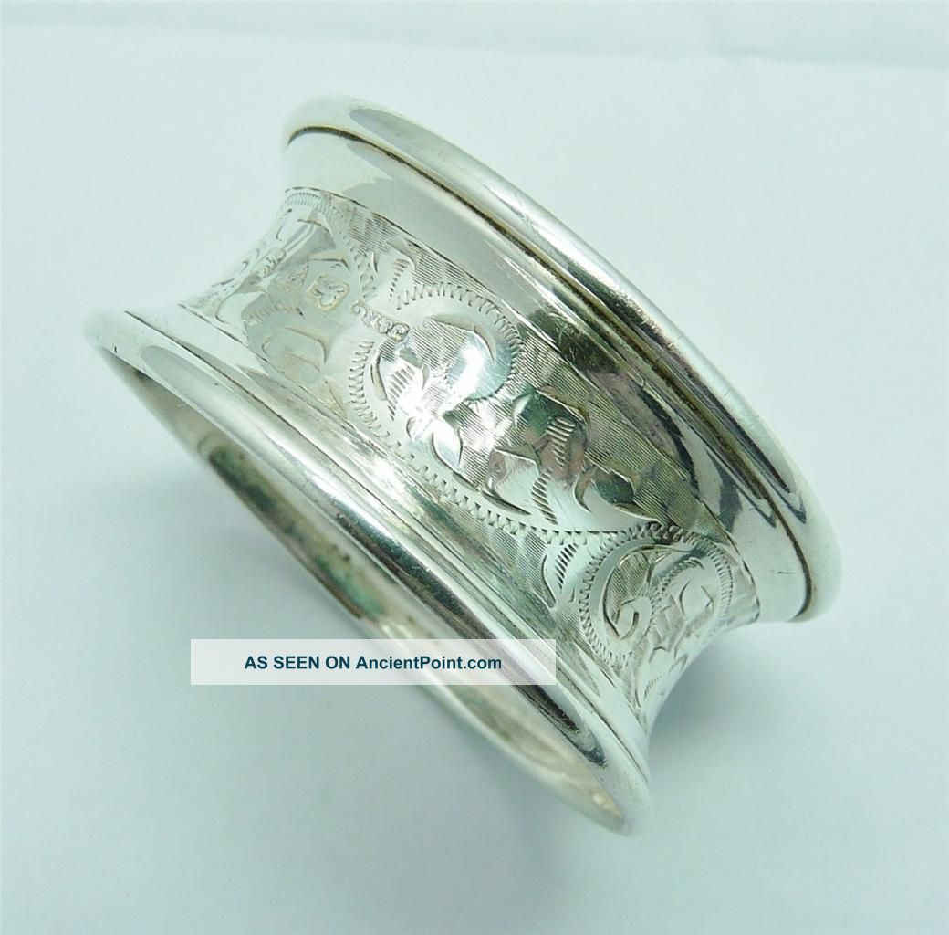 1912 Solid Silver Napkin Ring By Joseph & Richard Griffin Napkin Rings/ Clips photo