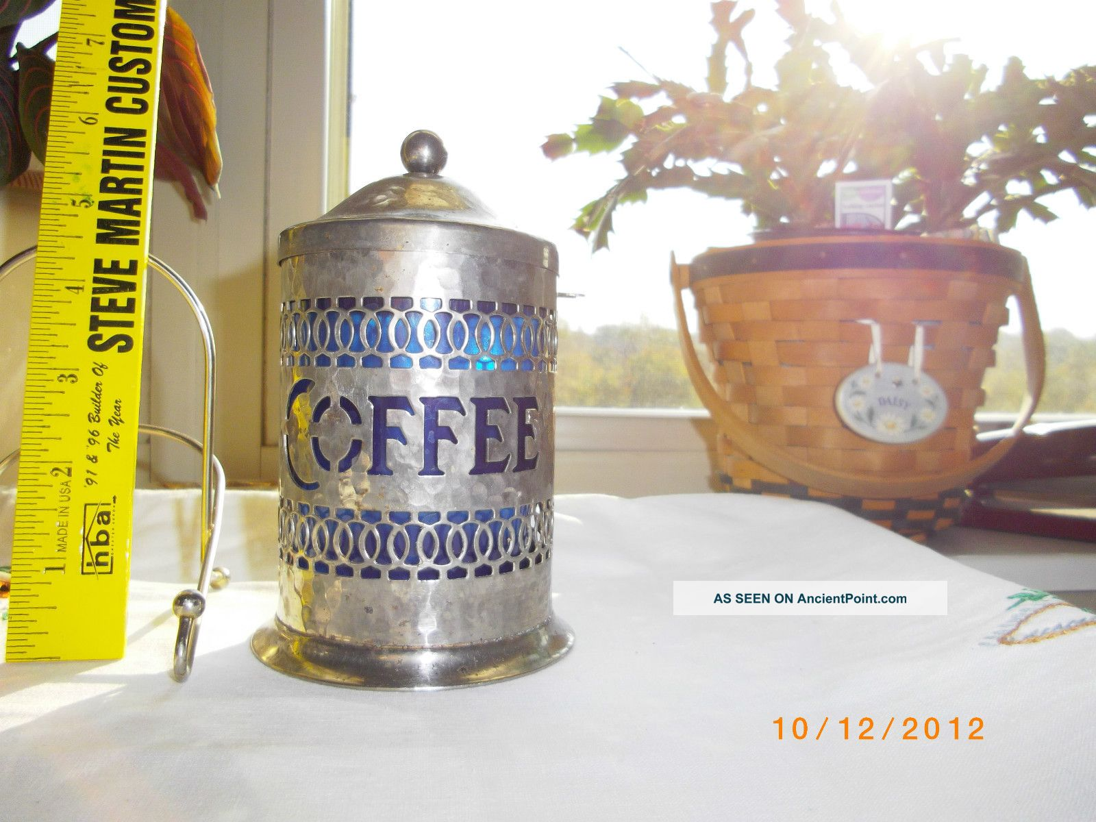 Silver Plated Server Table Top Instant Coffee With Blue Plastic Liner Container Tea/Coffee Pots & Sets photo