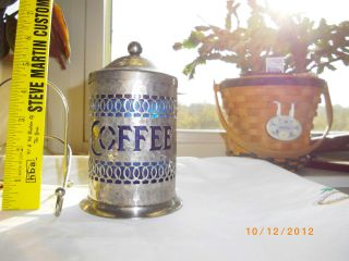 Silver Plated Server Table Top Instant Coffee With Blue Plastic Liner Container photo