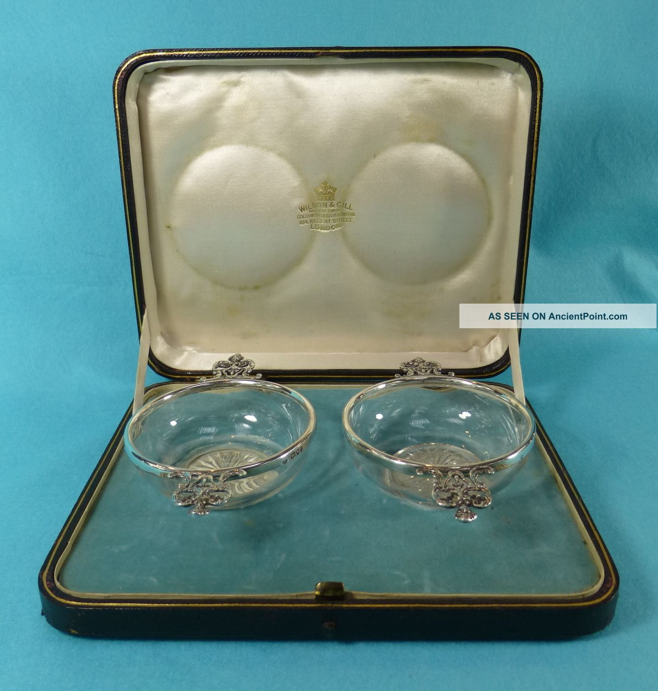 Pr Victorian Sterling Silver Glass Quaichs Bowls Case William Comyns 1894 Bowls photo