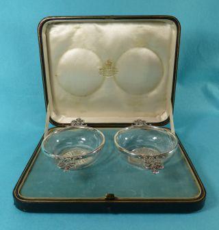 Pr Victorian Sterling Silver Glass Quaichs Bowls Case William Comyns 1894 photo