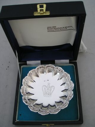 Lovely Cased 1977 Silver Jubilee Hallmarked Dish 123g photo