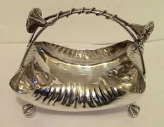 Chippendale Ball & Claw Feet Silverplate Bon Bon Basket Art Nouveau Floral Motif photo