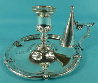 Victorian Sterling Silver Chamberstick Earl Glasgow Crest Hunt & Roskell 1850 photo
