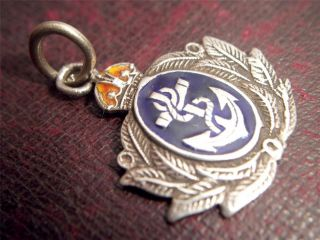 Antique Silver Enamel Royal Navy Pocket Watch Chain Fob Wwii Pendant Nr photo