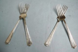 4 Louvre Dubarry Dinner Forks - Classic 1914 Wallace Quality - Clean & Table Ready photo