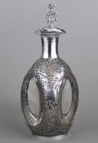 Chinese Export Sterling Silver Pinch Decanter Nr photo
