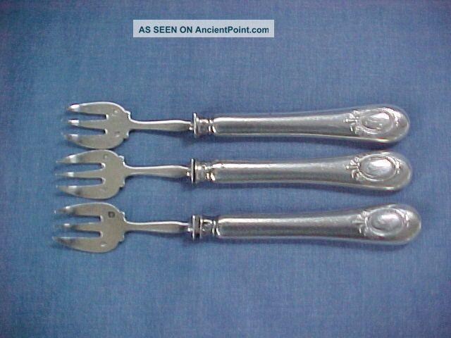 Lot Set 3 C1870 French Minerva 950 Sterling Silver Oyster Forks Coignet Scrap? France photo