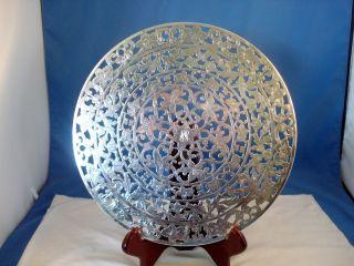 Large Vintage Webster Floral Cut Sterling Silver Glass Trivet,  10