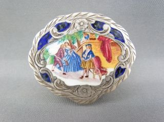 Fine Antique Italian Enamel 800 Silver Snuff / Pill Box Collection photo