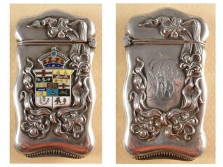 Rare North American Antique Silver & Enamel Armorial Vesta Case.  C1910 photo