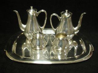 Vintage Eames Era Mid Century Modern Wolff 8 Piece Silverplate Tea / Coffee Set photo
