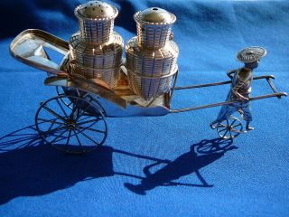 Sterling Silver Chinese Rickshaw Salt And Pepper Shakers photo