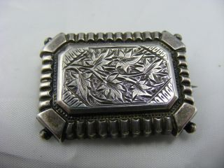 Antique Victorian Solid Silver Engraved Front Pin Brooch photo