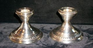 Antique Sterling Silver Newburyport Co 1905 - 1914 Weighted Candle Sticks photo