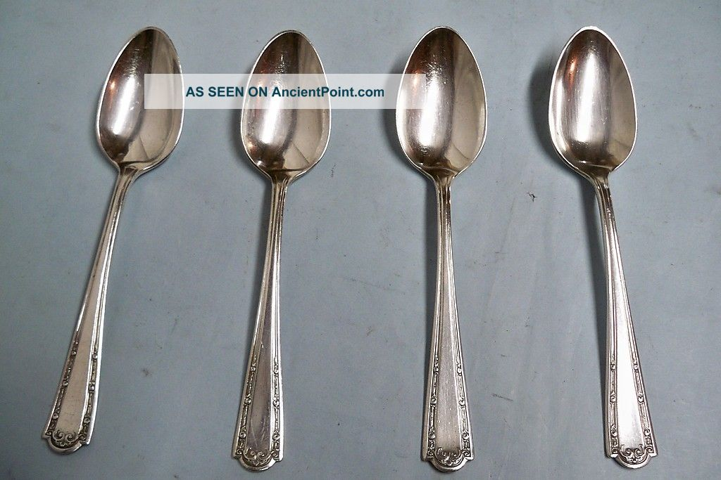 4 Louvre Dubarry Teaspoons - Classic 1914 Wallace Quality - Clean & Table Ready Other photo