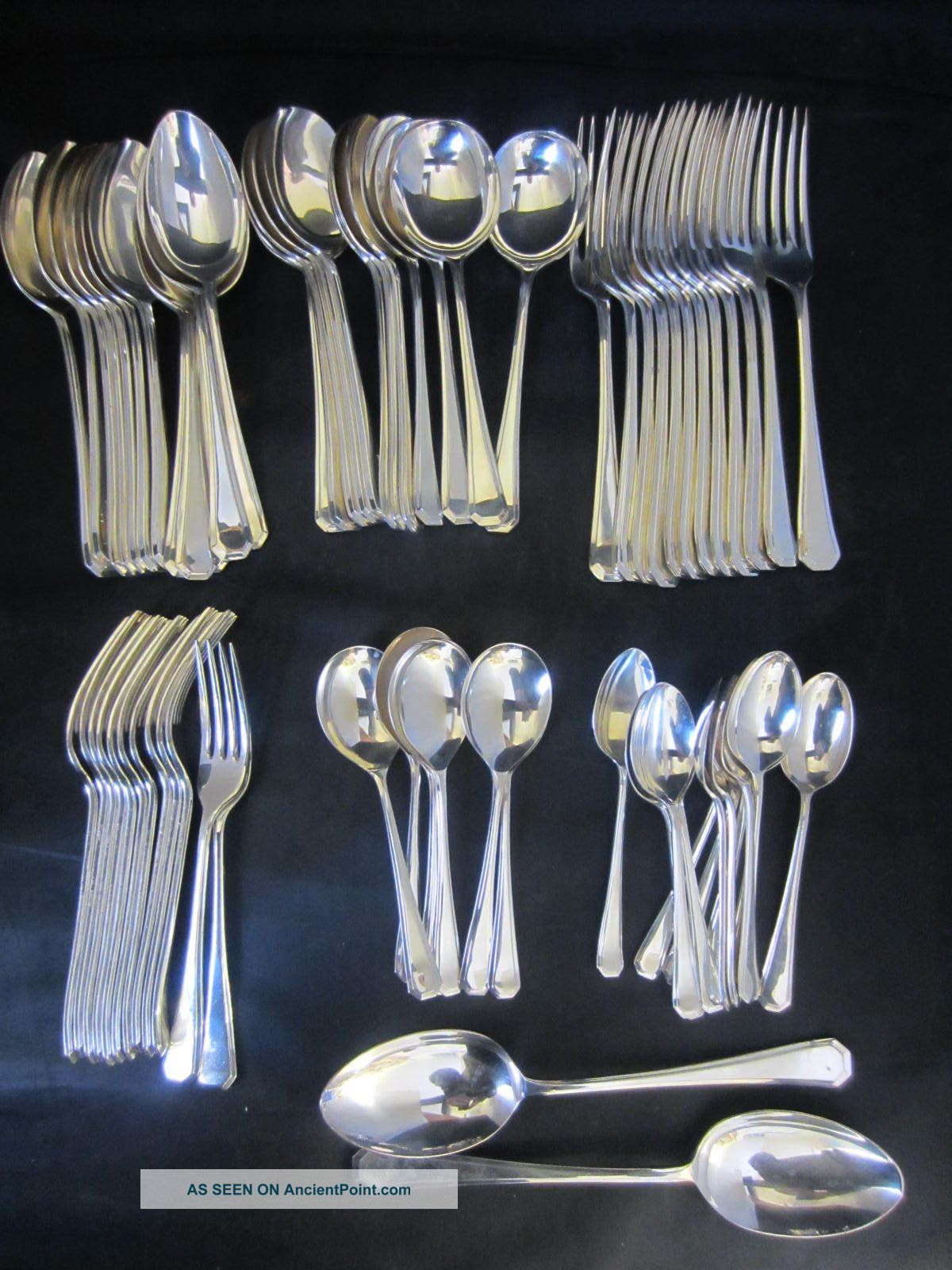 68 Piece Suite Of 12 Covers Silver Plated Grecian Pattern Cutlery Other photo