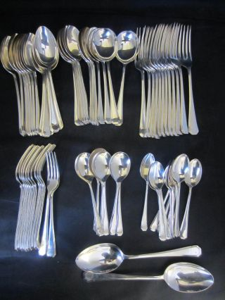 68 Piece Suite Of 12 Covers Silver Plated Grecian Pattern Cutlery photo