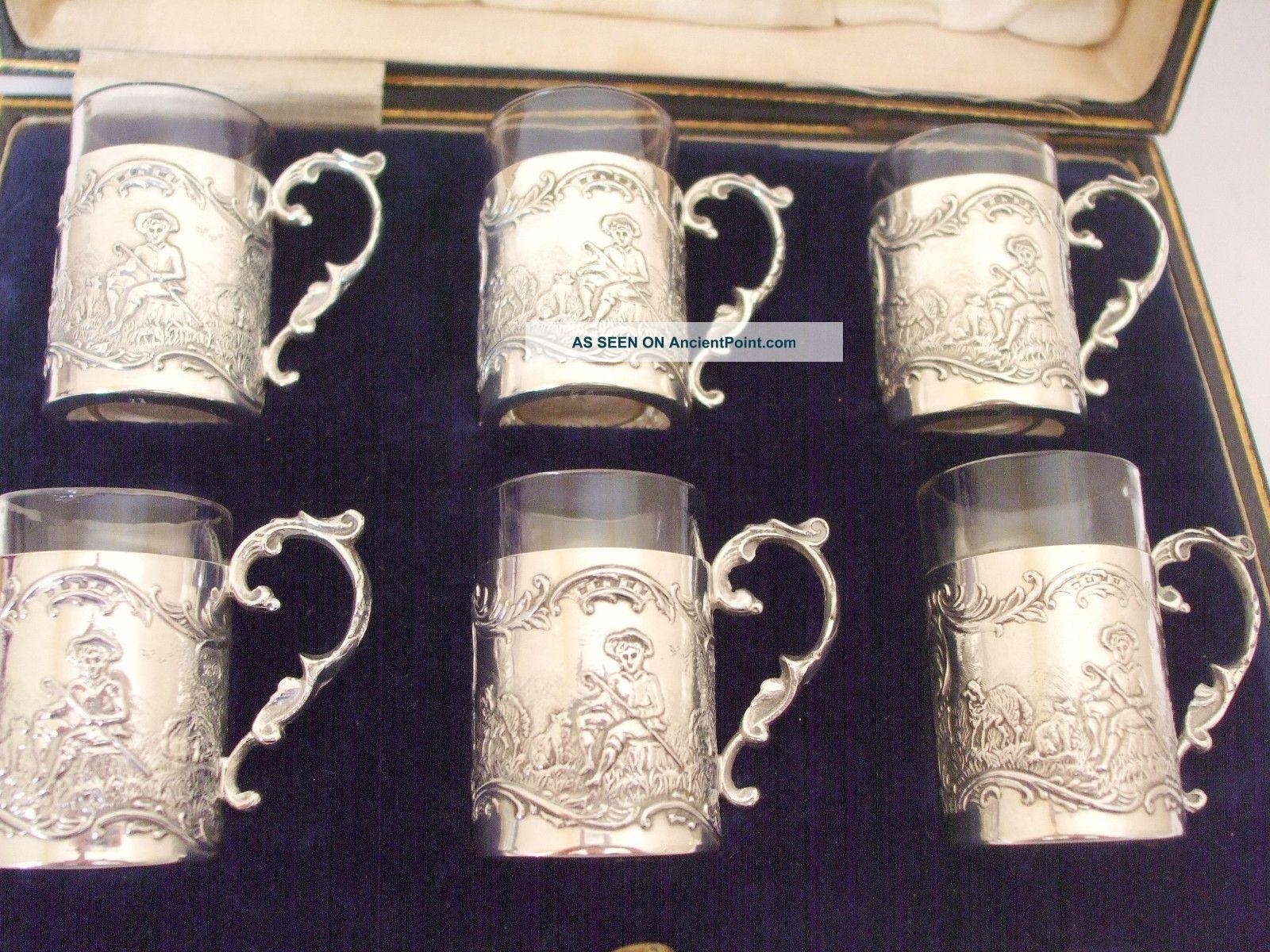 Antique Hm 1915 Rare Silver Liquor Liquer Tots Cups Goblets Harrods R Burbridge Cups/ Goblets photo