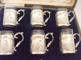 Antique Hm 1915 Rare Silver Liquor Liquer Tots Cups Goblets Harrods R Burbridge photo