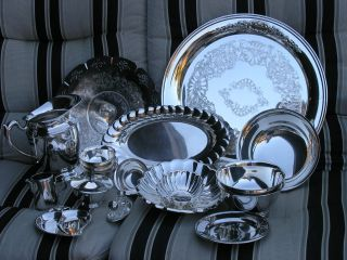 18 Piece Lot Vtg Silverplate Trays & Serving Dishes Reed&barton Onieda Catering photo
