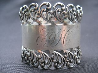 Victorian Sterling Silver 925 Napkin Ring 312 Monogrammed photo