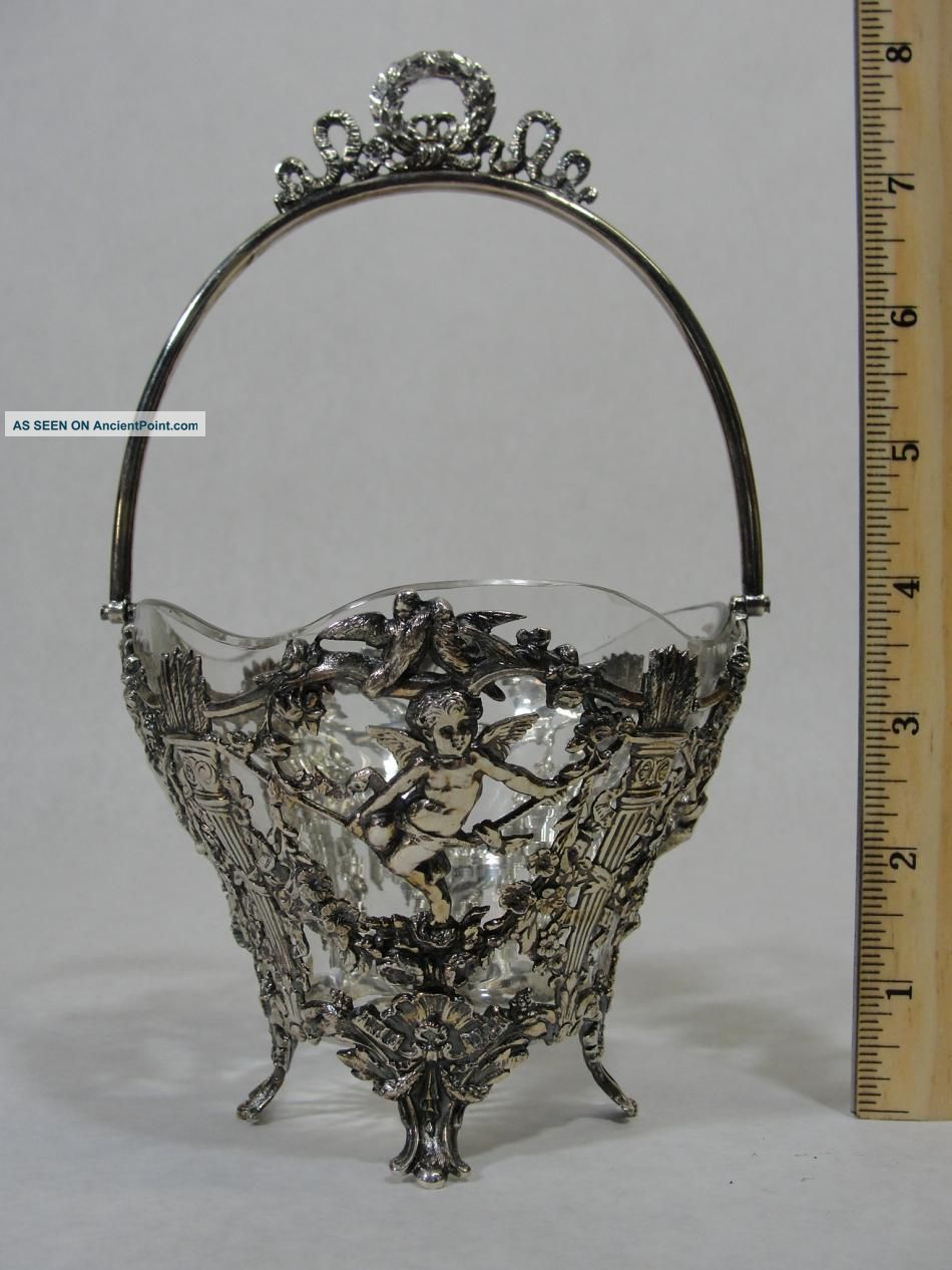 19thc Antique German.  800 Silver Repousse Cherub Bowl W/ Glass Liner Nr Germany photo