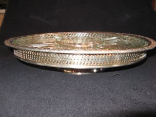 Vintage Internat ' L Silver Co.  Large Lazy Susan With Glass Diveded Tray,  Camelot photo