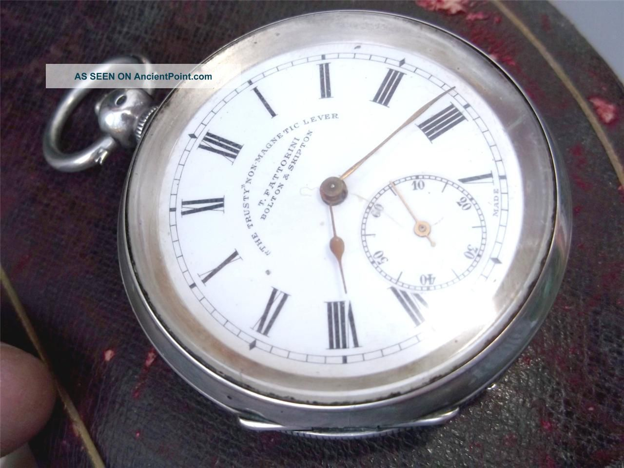 Solid Silver Pocket Watch London 1900 ' S Lever Movement Bolton Skipton Fattorini Pocket Watches/ Chains/ Fobs photo