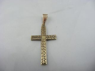 Antique Vintage Solid 9ct Gold Cross Pendant Religious Engraved photo