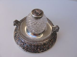 Elegant Antique Silver Plate And Crystal Glass Inkwell photo