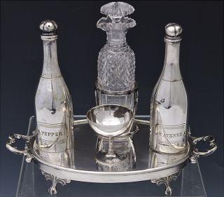 Most Unusual Victorian Silver Plate Figural Champagne Bottle Glass Condiment Set photo
