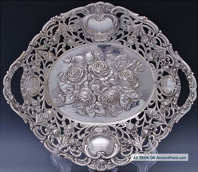 19thc Victorian Continental Solid Silver Figural Repousse Basket Bowl Bowls photo