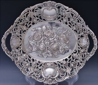 19thc Victorian Continental Solid Silver Figural Repousse Basket Bowl photo
