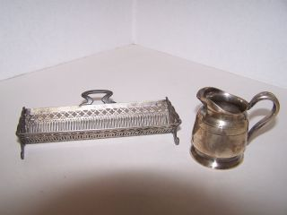 Antique Silverplate Lot Victorian Cracker Server & Reed & Barton Creamer photo