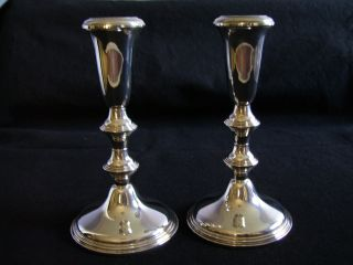 Set Of Two Sterling Empire Candlesticks photo