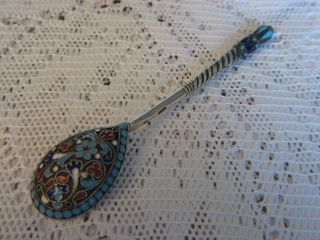 Antique Russian Silver/enamel Spoon From Moskow 1899 - 1908 photo