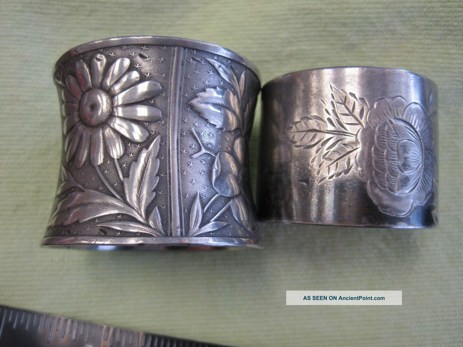 2 Victorian Silverplated Napkin Ring Holders Raised & Etched Flowers Napkin Rings & Clips photo