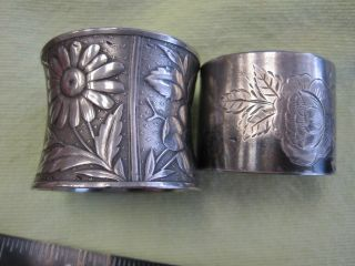 2 Victorian Silverplated Napkin Ring Holders Raised & Etched Flowers photo
