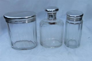 Three Vintage Solid Silver Topped Glass Gents Vanity Grooming Pots photo