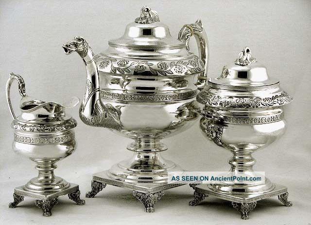 American Coin Silver Dragon & Maiden Handle Bird Spout Tea Set C1835 93oz Coin Silver (.900) photo