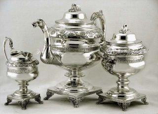 American Coin Silver Dragon & Maiden Handle Bird Spout Tea Set C1835 93oz photo